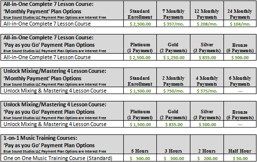Standard Enrollment Course Pricing